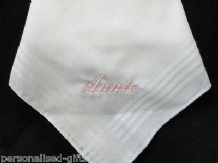 PERSONALISED LADIES WHITE COTTON HANDKERCHIEF